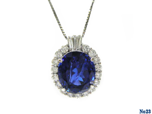pendant necklace tanzanite PT