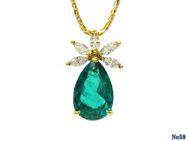 pendant necklace emerald K18